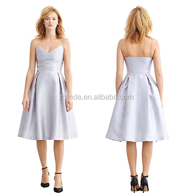 bdeed9c9db81 100% Polyester Simple Retro Women's 1950s Spaghetti Strap V Neck Formal  Silver Bridesmaid Swing Dress Wholesale