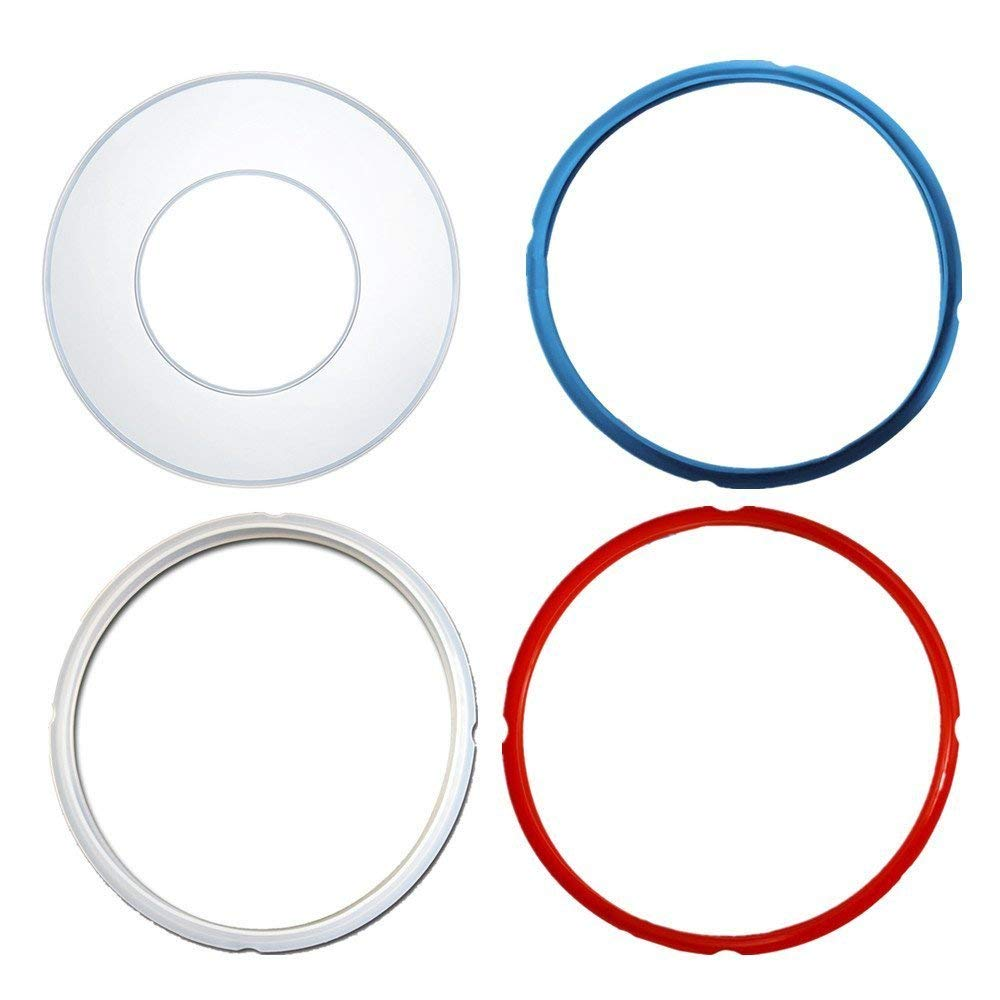 Instant Pot Silicone Lid Cover and Sealing Ring - Instant Pot Accessories Fits 5 or 6 Quart Models, Red, Blue and Common Transparent White For 6 qt (Lid Cover and Sealing Ring)