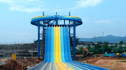 Qingfeng 2017 carton fair classic rainbow racing slide large water slide giant inflatable water slide for adult