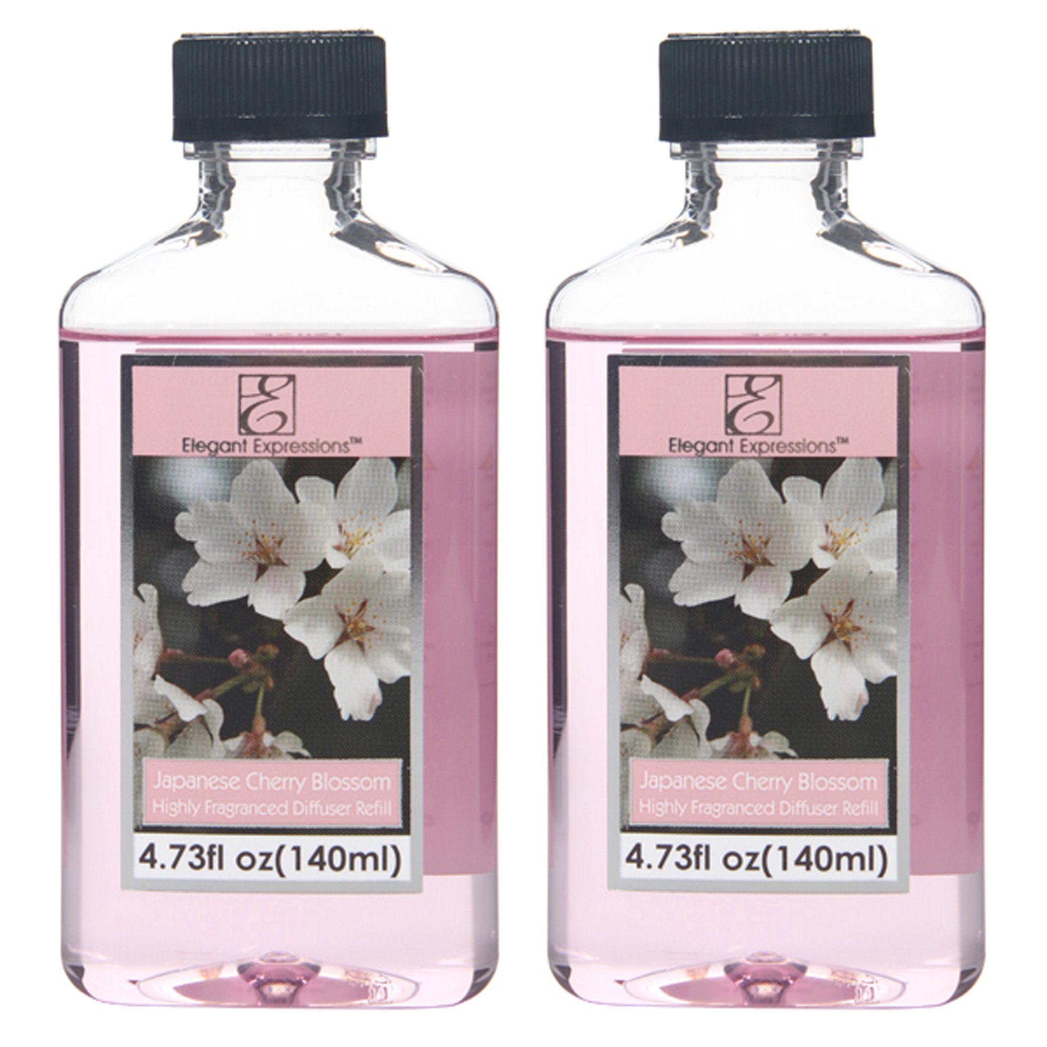 Aromatherapy Hosley® Premium Highly Scented, Japanese Cherry Blossom 2 Large Bottles 140ml (4.73 fl oz) Each, reed Diffuser Refill Oi-Set of 2 / 140ml Each - Made in USA.FREE SHIPPING. BULK BUY