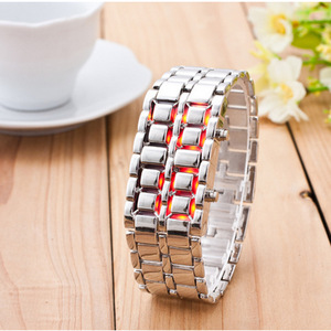 Men's Watch Lava Iron Metal Red Blue LED Watch Fashion Digital Watch