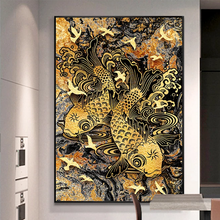 중국어 Manufacturer 싼 Cost 금 Carp Fish Oil Canvas Painting 대 한 홈 벽 Decor 액자 Canvas Printed Art Patterns