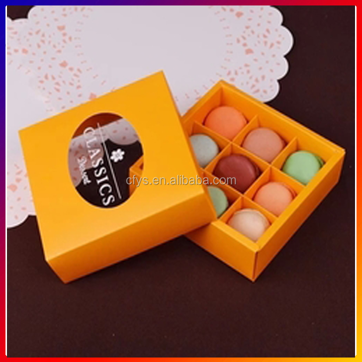 9 units macarons box chocolate biscuit muffin cake folding packed box wedding portable gift box