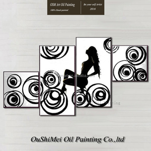 Skilled Artist Hand-Painted Abstract Black And White Nude Lady Oil Painting On Canvas Abstract Nude Woman Portrait Oil Paintings