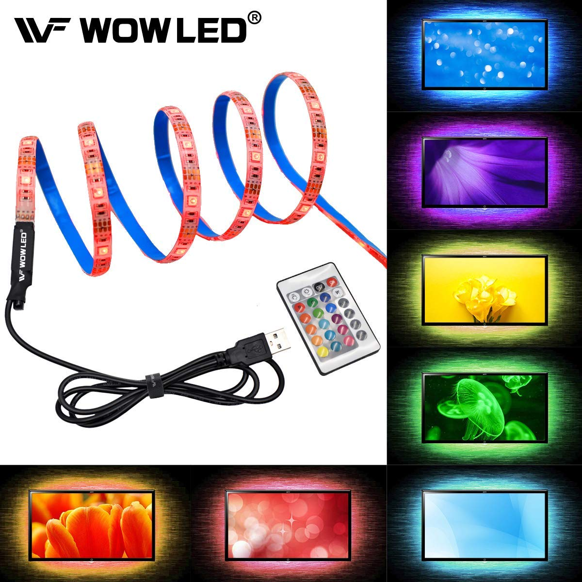Get Quotations Wowled Rgb 2m Led Tv Backlight Usb Ed Waterproof 60 Leds 5050 Smd Multi Color