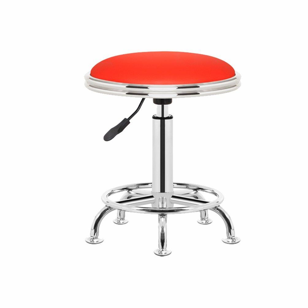 Decorative stool Liftable Rotatable Stool, Bar Stools Round Stool Household Cosmetic Stool Beauty Salon Stool Laboratory Work Stool 42-54cm (Color : Red)