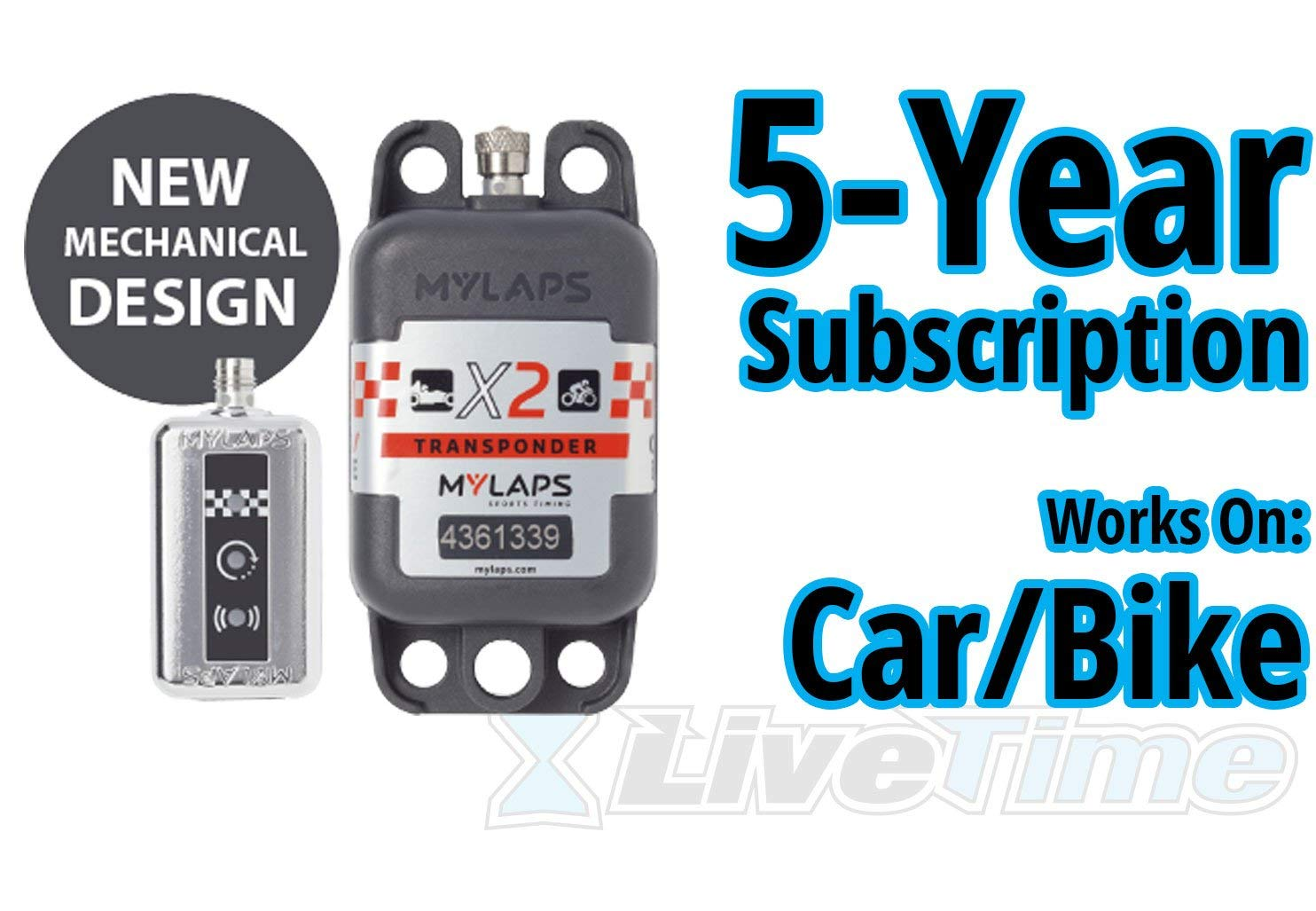 MyLaps X2 Transponder, Rechargeable, for Car/Bike, includes 5-Year Subscription