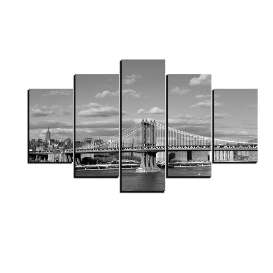Classic Black and White Wall Art New York City Scene <strong>Picture</strong> Printed on Canvas for Home Decoration
