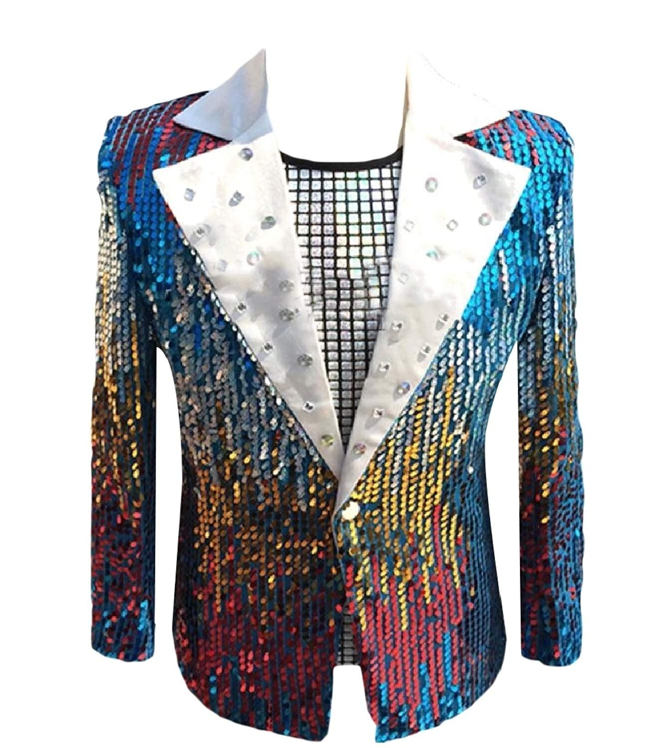 Kankanluck Men Wedding Blazer Slim Sequin Banquet Pocket Tuxedo Suits Jacket