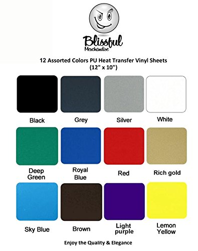 Vinyl: Iron-On Heat Transfer Sheets- Bundle Of 12 pack of 12 in x 10 in PU- Bonus: Teflon Sheet- HTV for Cricut and Silhouette