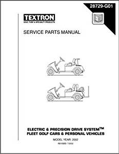 EZGO 28729G01 2001-2002 Service Parts Manual for Electric and Precision Drive Golf Cars and Personal Vehicles