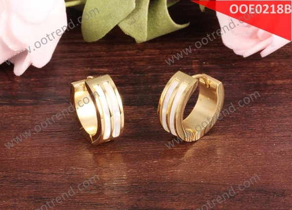 two groove inlaid white shell rose golden color stainless steel 316L cuff earring for girls