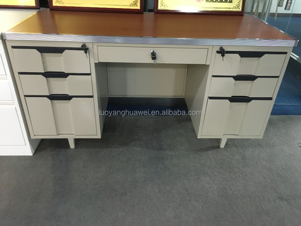 Office Desk MDF Board Three Drawers Table School Wood-Steel Top Single Side Drawer Computer Desk Metal