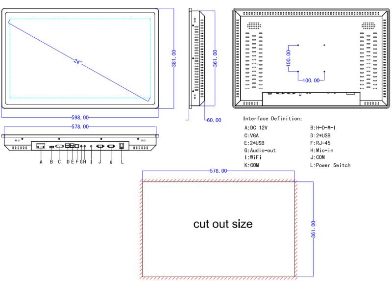 高密度競争力のある価格シンクライアントアームlinux 24インチタッチスクリーンオールインワンpc