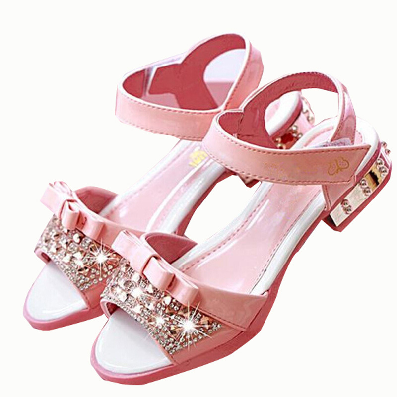 Summer Style Children Beach Sandals 2015 Bowtie Girls Sandals Sandalias Rhinestone Children Shoes Girls Princess Wild Girl Shoes