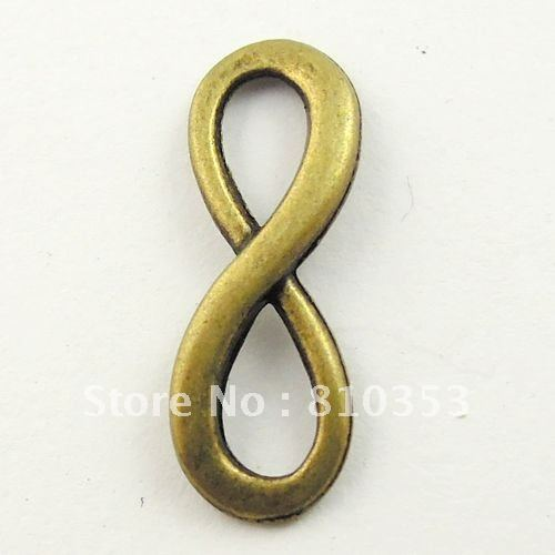 Vintage Style Antiqued Bronze Tone  Alloy Number 8 Infinity Sign Charms Pendants 23*9*1mm 10pcs -09161