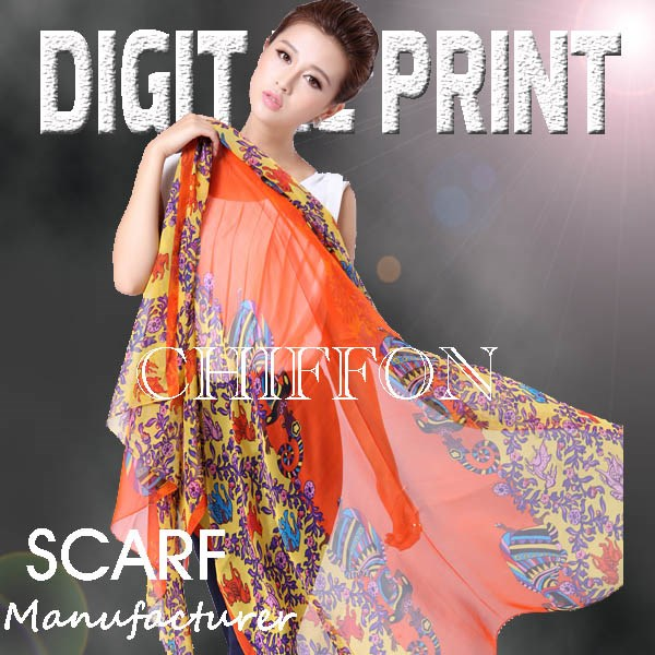 Amazing digital printed Chiffon Scarf, Bright vivid colors, Focus on the high-end market -Z67
