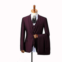 3 Piece Men Blazer Wedding Tuxedo Red coat pant Man Suit