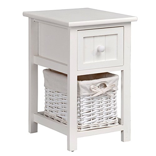 White Shabby Chic Nightstand Bedside End Side Table with Drawer and Wicker Storage