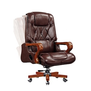 Luxury Antique Genuine Leather Manager Chairs Desk Set Wood chair