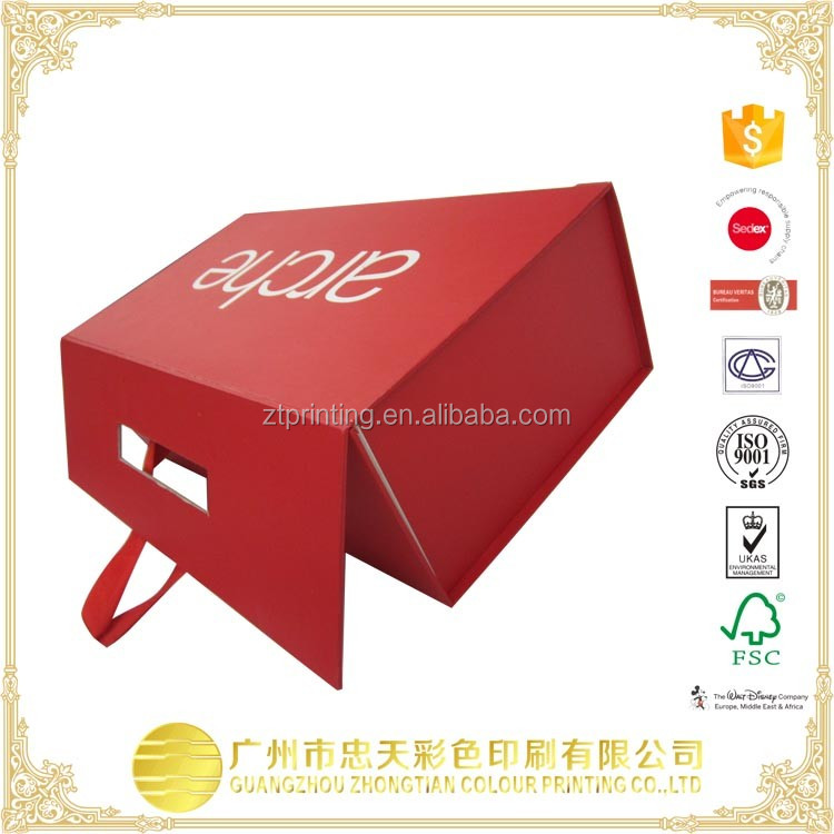 OEM luxury paper board packaging suitcase boxes jewelry packaging box with ribbon string and handle