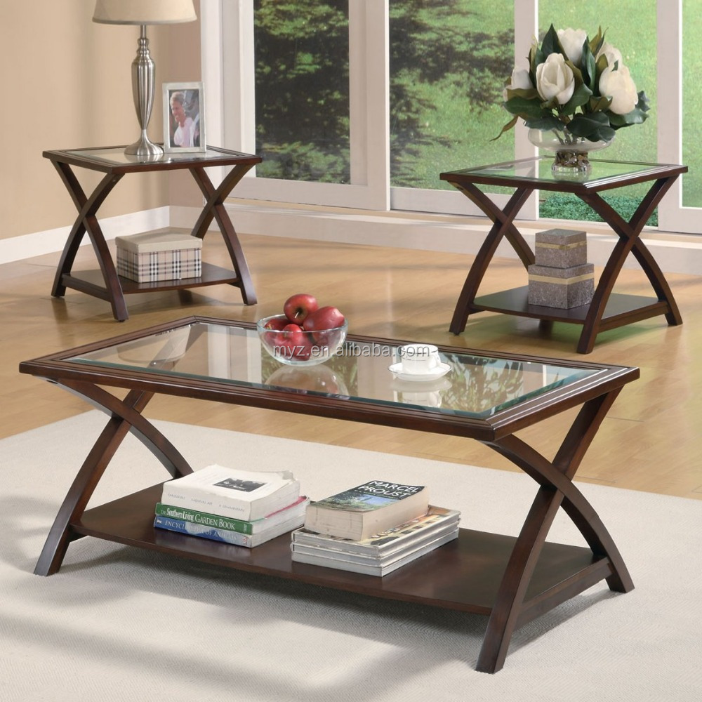 Modern design X style end table tempered glass top coffee table for living room