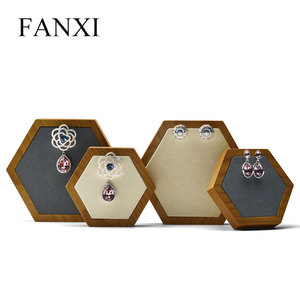 FANXI Free Shipping Microfiber Jewellery Display Stand For Necklace Bracelet Ring Showcase Hexagon Solid Wood Jewelry Holder