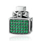 Fashion 100% 925 Sterling Silver Green Perfume Bottle Bow Knot Bead Charms CZ Fit Bracelets Jewelry Gift