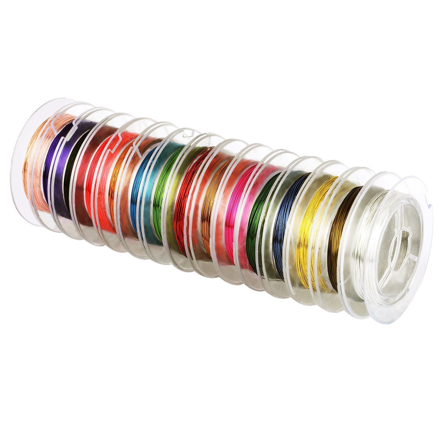eBoot 15 Pieces 0.3 mm Colorful Jewelry Beading Wire Bare Copper Wire Rolls for Crafting Beading Jewelry Making
