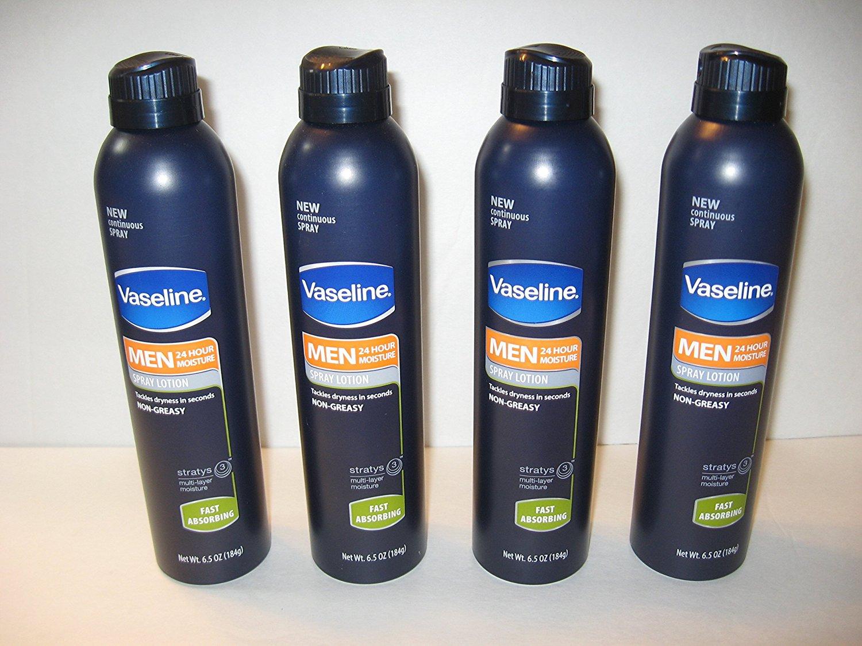4 Pack Vaseline Men Moisturizing 24 Hour Spray Lotion, Fast Absorbing 6.5 OZ