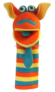 hot sale colorful big eyes knitted plush sock puppet
