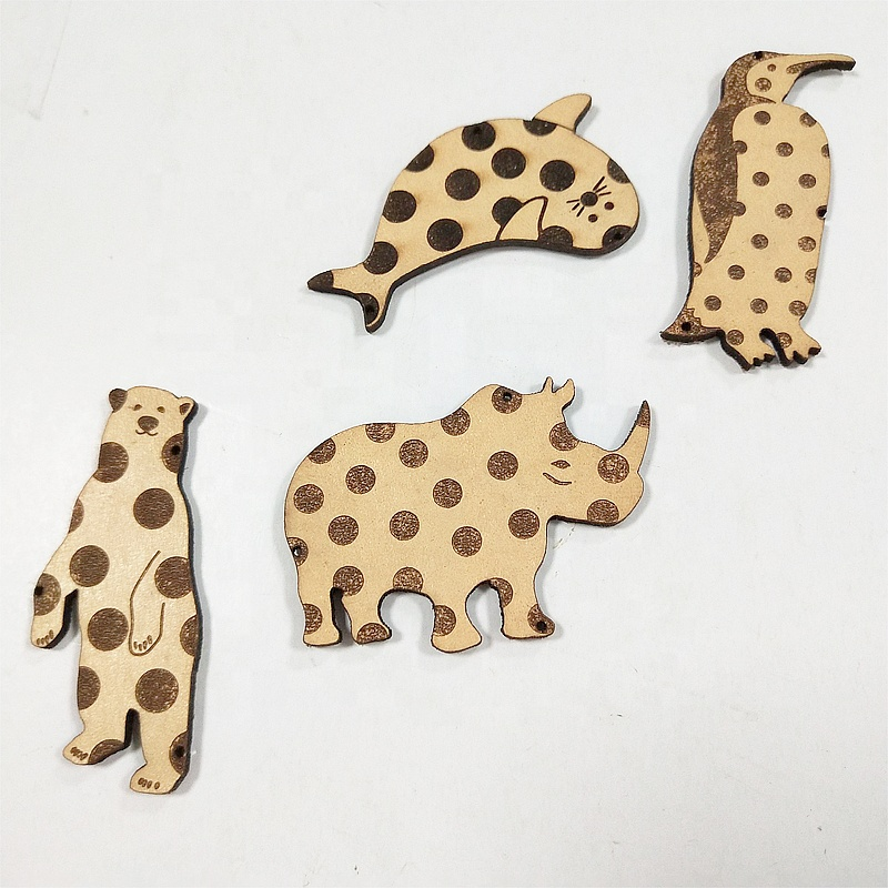 Wood products laser cut animal shapes