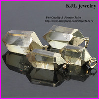 KJL-A094 natural crystal yellow quartz stone pendant,agate semi-precious drusy stone charm in jewelry