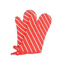 Kitchen Cooking Heat Resistant Microwave Protective Gloves Red Stripe Printed Cotton Oven Mitts