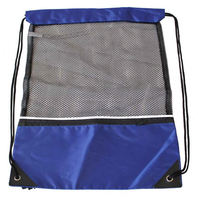 Eco-friendly Polyester Draw String Mesh Beach Bag with Front Zippered Pocket