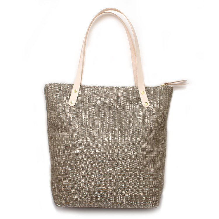 Reusable Grocery Bags Shopping Tote Cotton Linen Burlap Jute Bag with Leather Handle