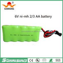 China factory direct sale Size 2/3AA 6v 300mah rechargeable nimh battery pack