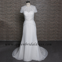 Nectarean High Neck Soft Lace Back Hole Mermaid wedding dresses