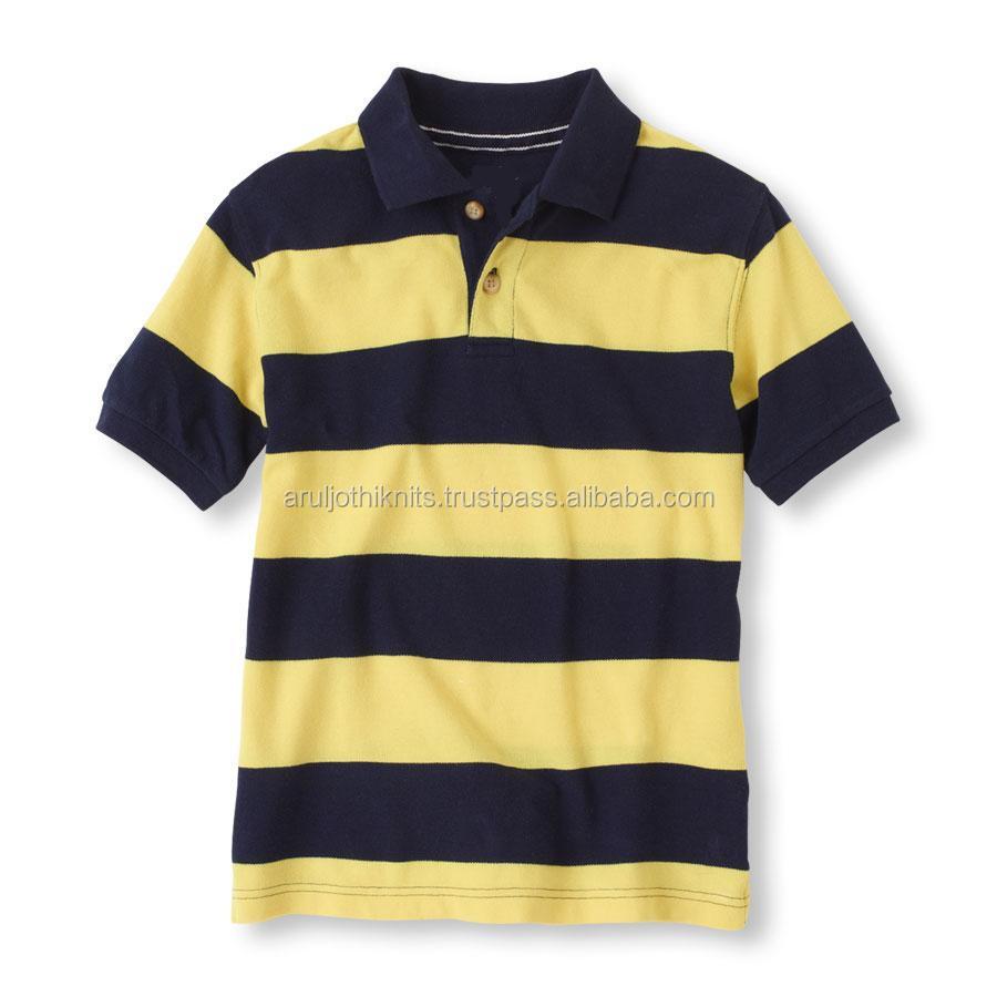 Boys Black And Yellow Striped Polo Shirt Buy Polo Shirt Design
