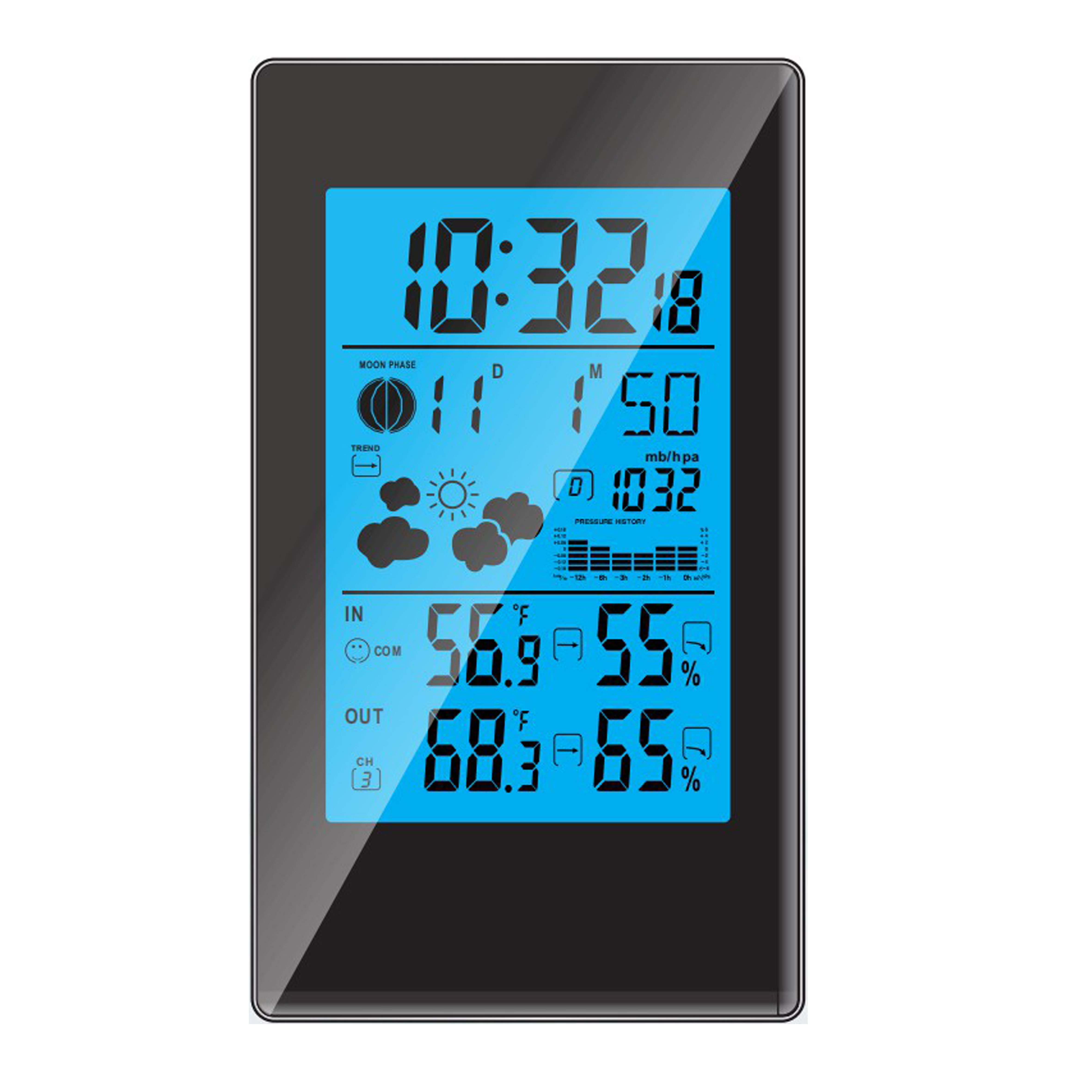 indoor and outdoor thermometer hygrometer barometer trend RF digital alarm clock with snooze temperature humidity moon phase
