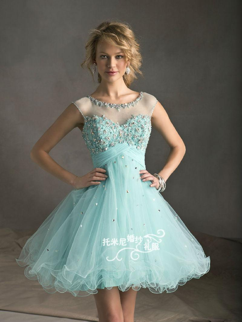 Fashion New Summer dress 2014 Lace Diamond Short Evening ... Lace Prom Dresses 2014