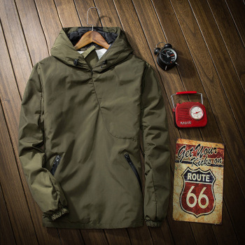 MS70932G Men's solid color with hood dust jackets