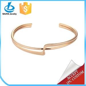 Simple Trendy skinning thin gold cuff bangle