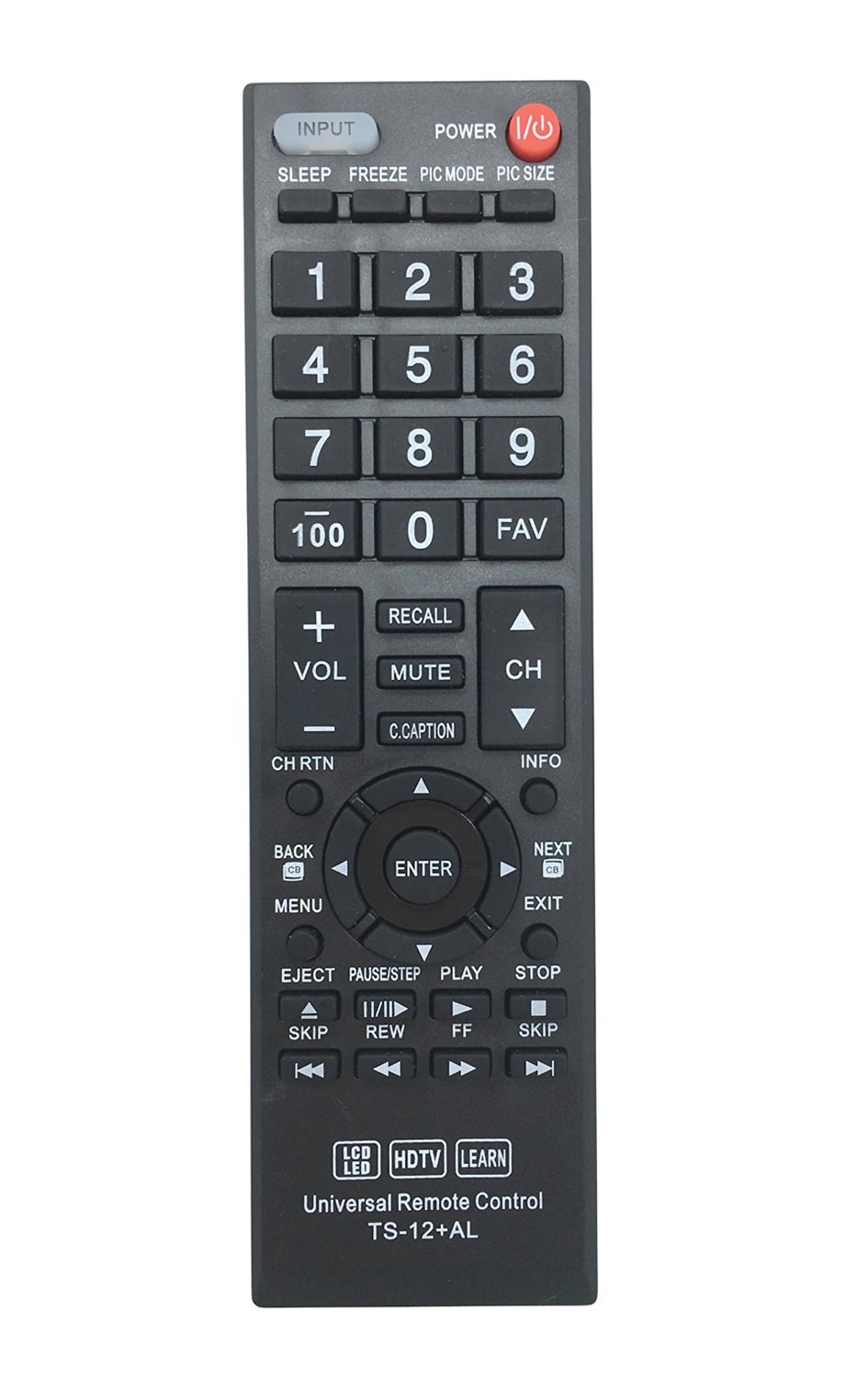 Vinabty New Replaced Universal Remote Control TS-12+AL fits for TOSHIBA Series CT-90325 LCD LED HDTV LEARN TV REMOTE