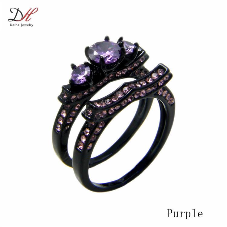 Black Gold Purple Diamond Ring
