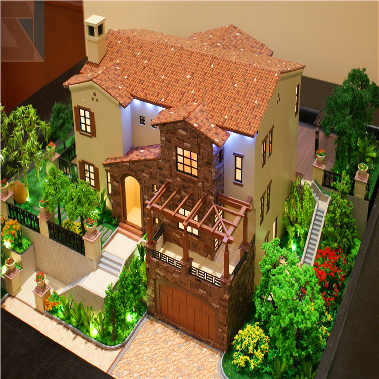 Maquettes Architecture Model 1/100 Scale With Led Light And Garden ,house  Model
