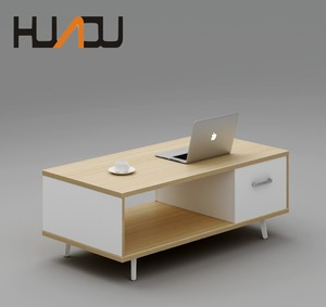 HUADU cheap price office home furniture modern mdf wooden coffee table set with drawer center end table with attached cabinet