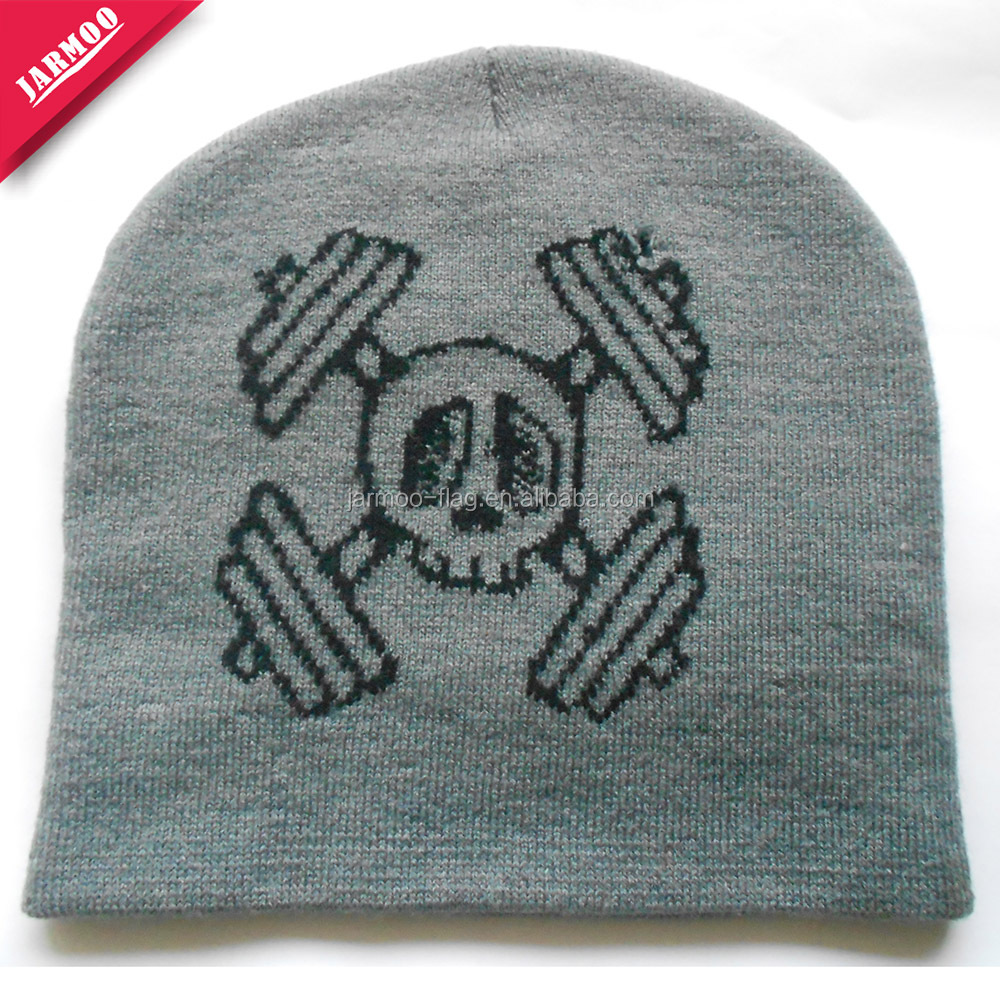 Promotional fashion skull print beanie