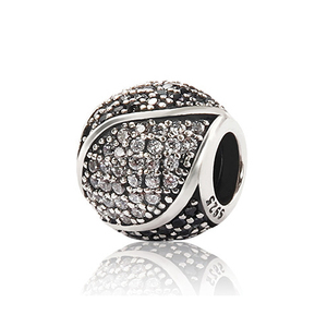 925 sterling silver Tai Chi Charms beads with Black&Clear Cz for DIY charms bracelets from Silver jewellery manufacturer