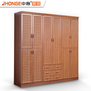 Large Wood Carving 10 Doors Pvc Home Bedroom Furniture Made In China Clothes Cupboard Design Wardrobes